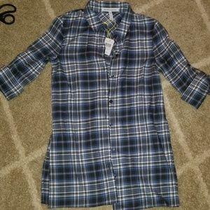 BCBG button down top blouse flannel shirt